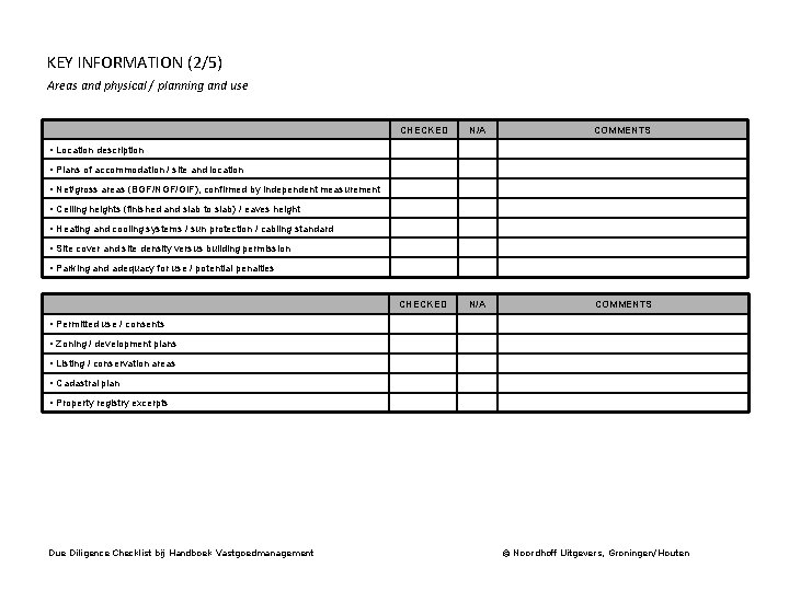 KEY INFORMATION (2/5) Areas and physical / planning and use CHECKED N/A COMMENTS •
