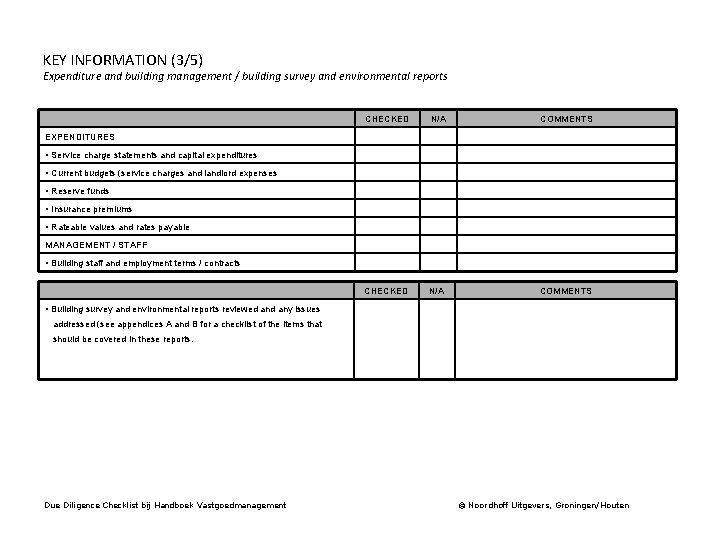 KEY INFORMATION (3/5) Expenditure and building management / building survey and environmental reports CHECKED