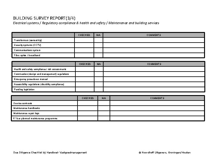 BUILDING SURVEY REPORT(3/4) Electrical systems / Regulatory compliance & health and safety / Maintenance