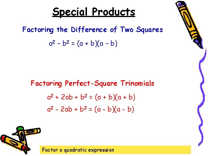 Special Products Factoring the Difference of Two Squares a 2 – b 2 =
