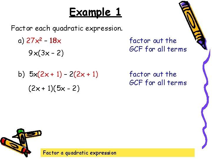 Example 1 Factor each quadratic expression. a) 27 27 x x 2 – 18
