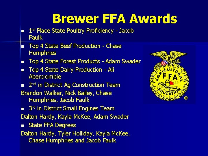Brewer FFA Awards 1 st Place State Poultry Proficiency - Jacob Faulk n Top