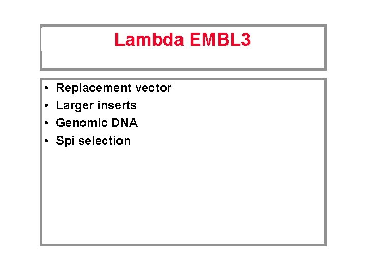 Lambda EMBL 3 • • Replacement vector Larger inserts Genomic DNA Spi selection