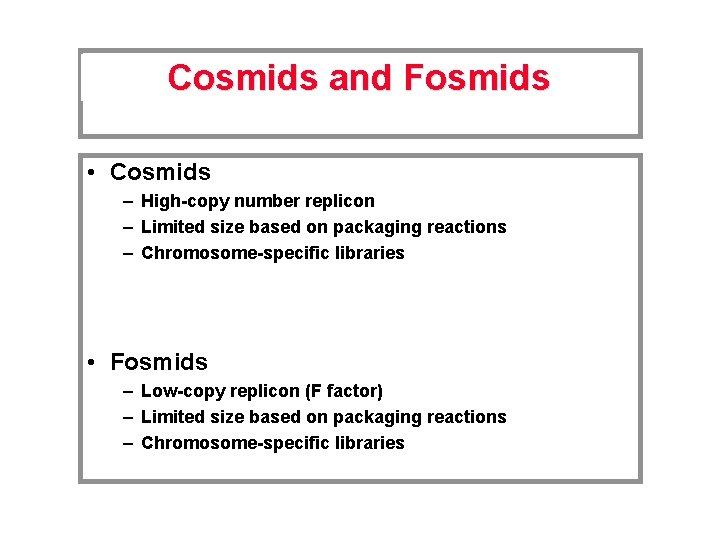 Cosmids and Fosmids • Cosmids – High-copy number replicon – Limited size based on