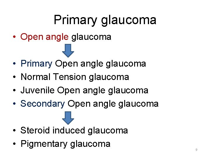 Primary glaucoma • Open angle glaucoma • • Primary Open angle glaucoma Normal Tension