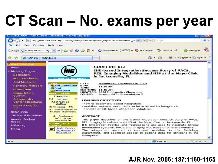 CT Scan – No. exams per year AJR Nov. 2006; 187: 1160 -1165