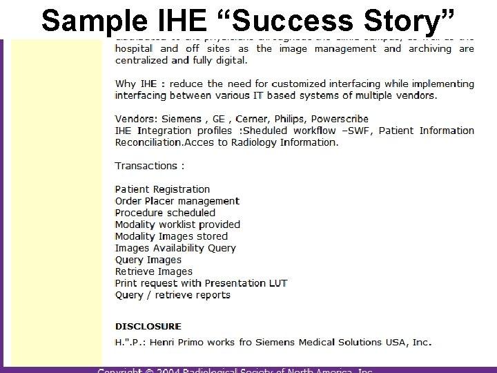 "Sample IHE ""Success Story"""