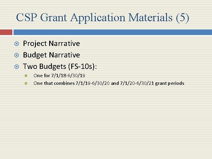 CSP Grant Application Materials (5) Project Narrative Budget Narrative Two Budgets (FS-10 s): One