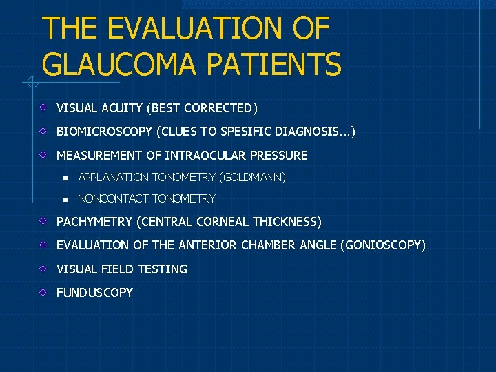 THE EVALUATION OF GLAUCOMA PATIENTS VISUAL ACUITY (BEST CORRECTED) BIOMICROSCOPY (CLUES TO SPESIFIC DIAGNOSIS.
