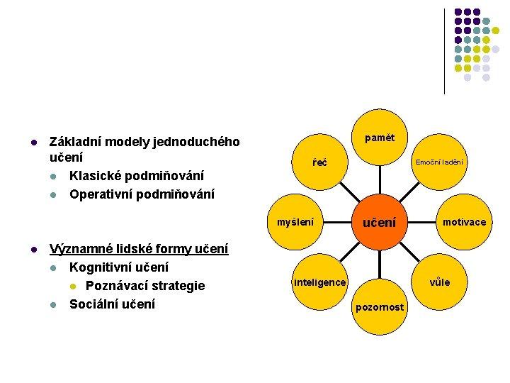 l Základní modely jednoduchého učení l Klasické podmiňování l Operativní podmiňování pamět řeč myšlení