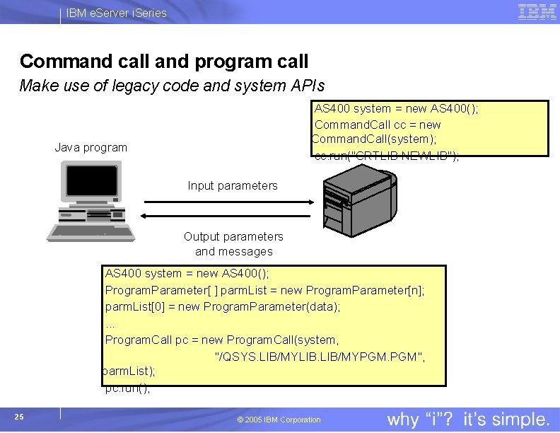 IBM e. Server i. Series Command call and program call Make use of legacy