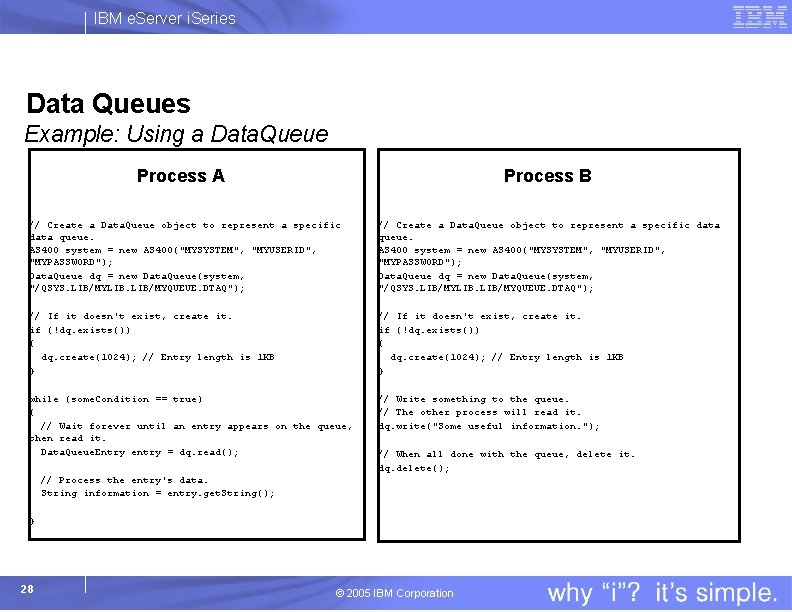 IBM e. Server i. Series Data Queues Example: Using a Data. Queue Process A