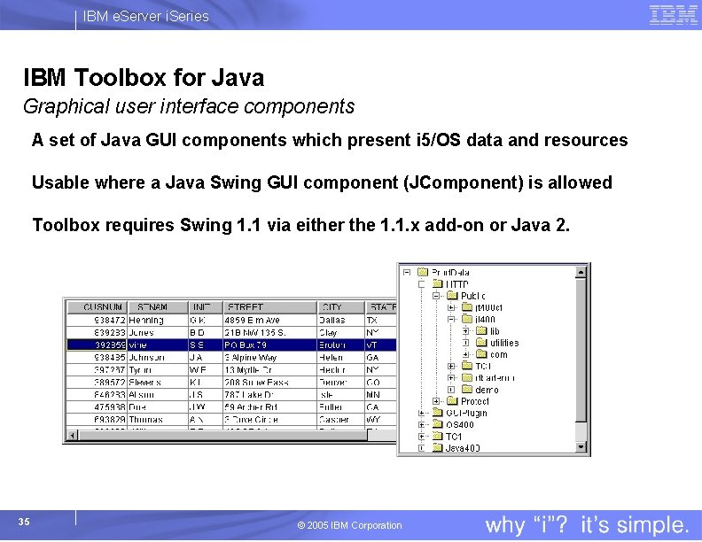 IBM e. Server i. Series IBM Toolbox for Java Graphical user interface components A