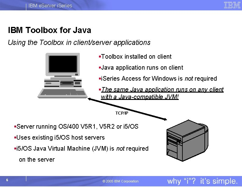 IBM e. Server i. Series IBM Toolbox for Java Using the Toolbox in client/server