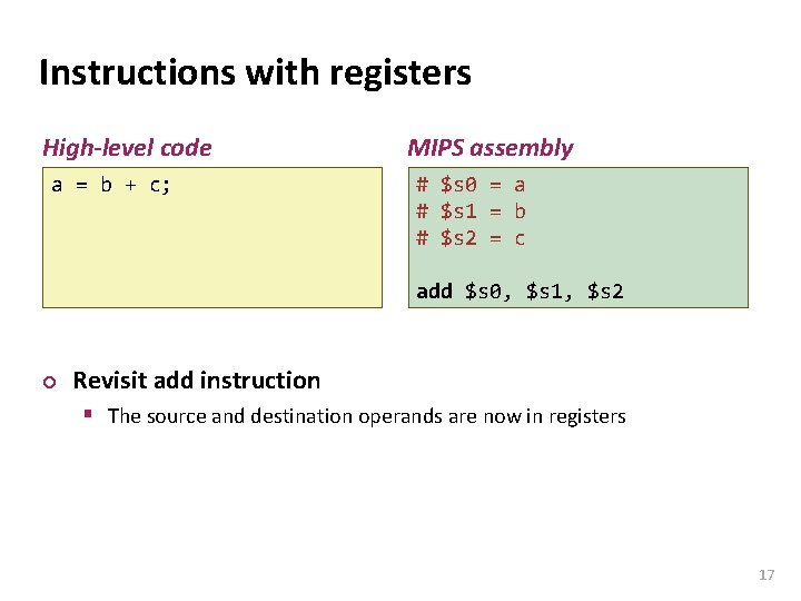 Carnegie Mellon Instructions with registers High-level code a = b + c; MIPS assembly