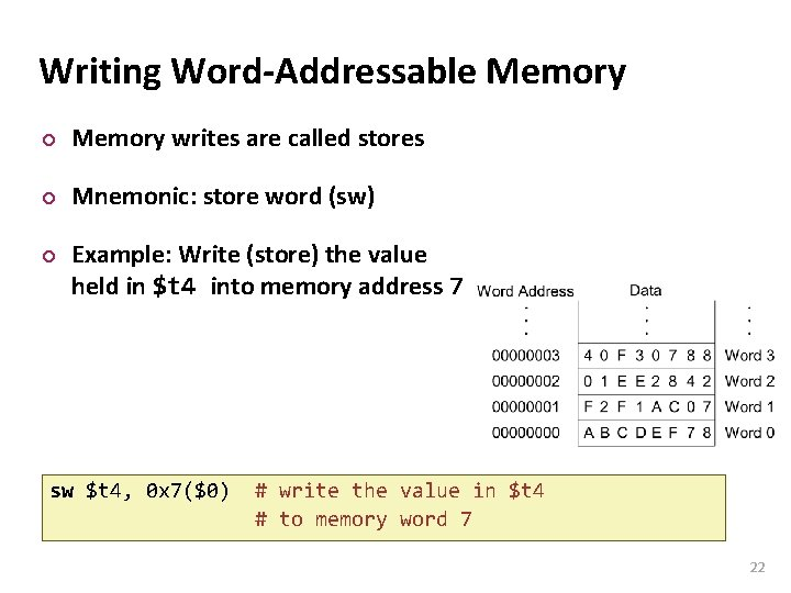 Carnegie Mellon Writing Word-Addressable Memory ¢ Memory writes are called stores ¢ Mnemonic: store