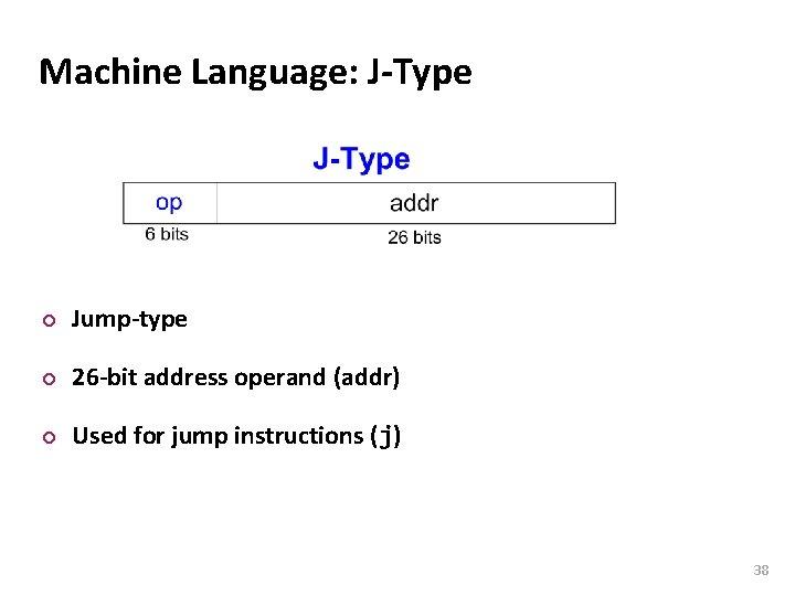 Carnegie Mellon Machine Language: J-Type ¢ Jump-type ¢ 26 -bit address operand (addr) ¢