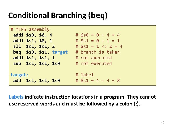 Carnegie Mellon Conditional Branching (beq) # MIPS assembly addi $s 0, $0, 4 addi