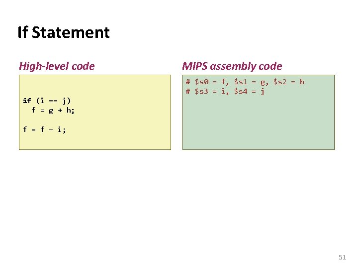 Carnegie Mellon If Statement High-level code MIPS assembly code # $s 0 = f,