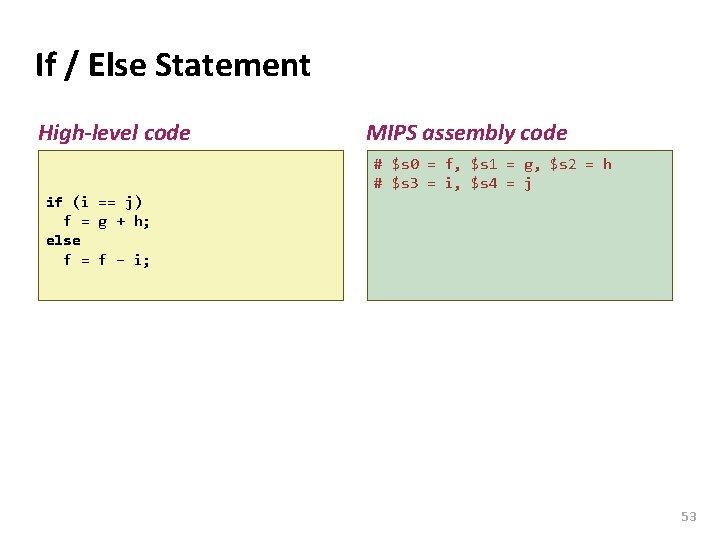 Carnegie Mellon If / Else Statement High-level code MIPS assembly code # $s 0