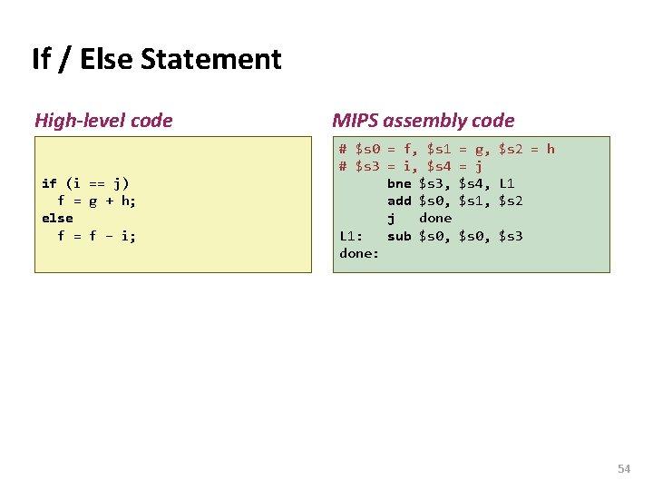 Carnegie Mellon If / Else Statement High-level code if (i == j) f =