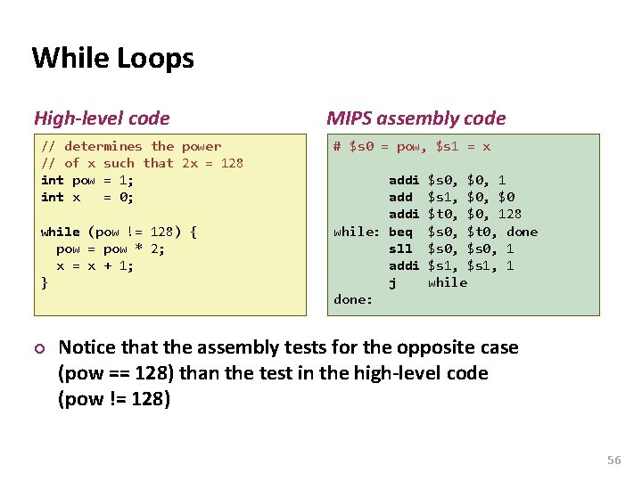 Carnegie Mellon While Loops High-level code // determines the power // of x such