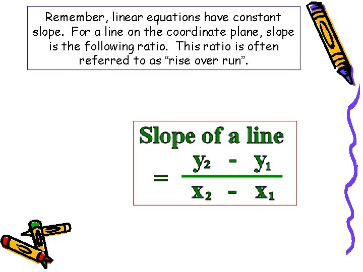 Remember, linear equations have constant slope. For a line on the coordinate plane, slope