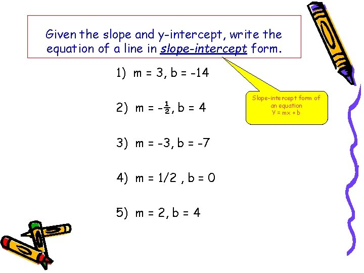 Given the slope and y-intercept, write the equation of a line in slope-intercept form.