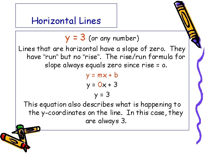 Horizontal Lines y=3 (or any number) Lines that are horizontal have a slope of