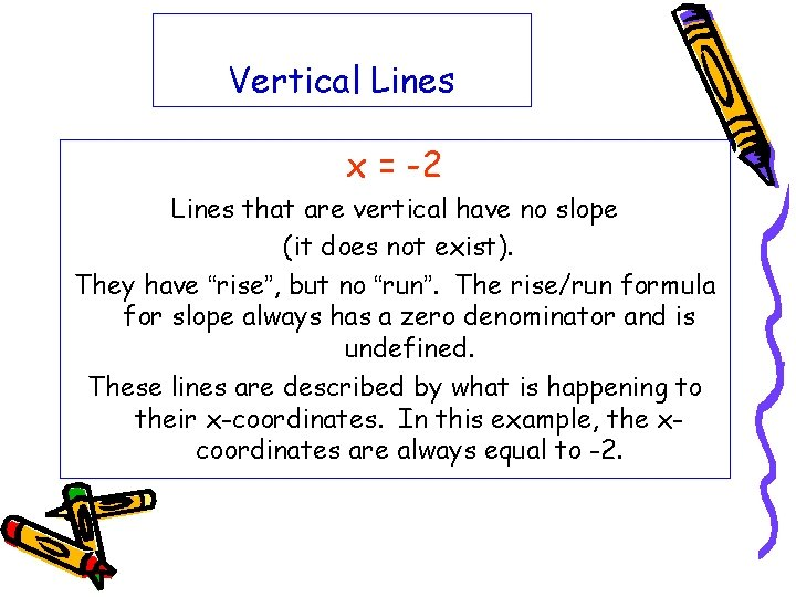 Vertical Lines x = -2 Lines that are vertical have no slope (it does