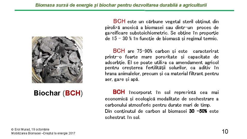 Biomasa sursă de energie şi biochar pentru dezvoltarea durabilă a agriculturii BCH este un