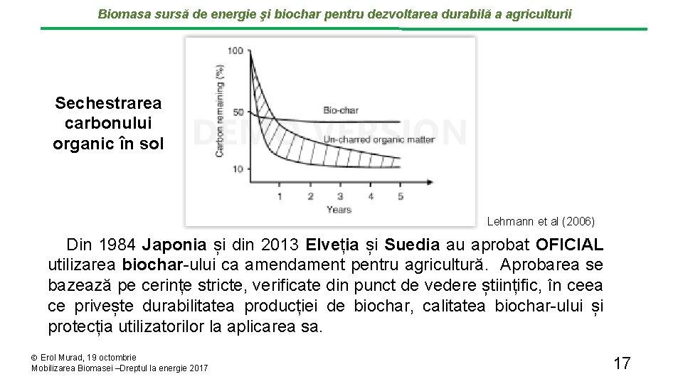 Biomasa sursă de energie şi biochar pentru dezvoltarea durabilă a agriculturii Sechestrarea carbonului organic