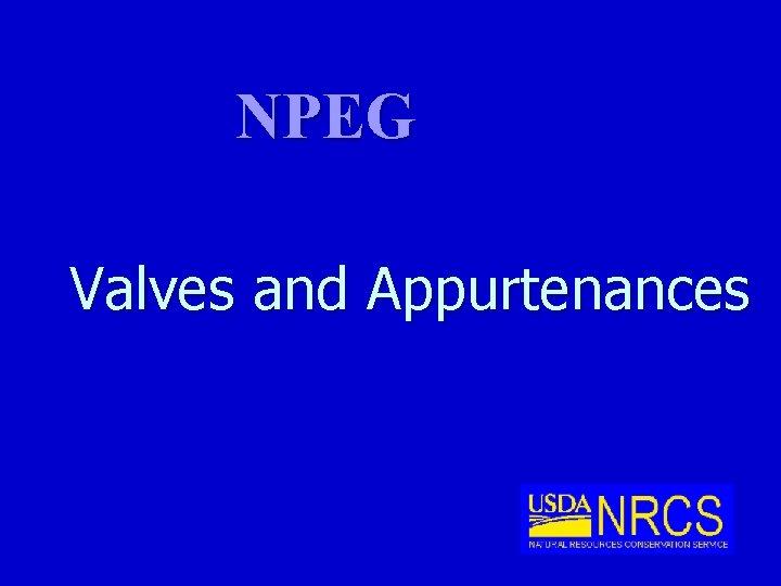 NPEG Valves and Appurtenances