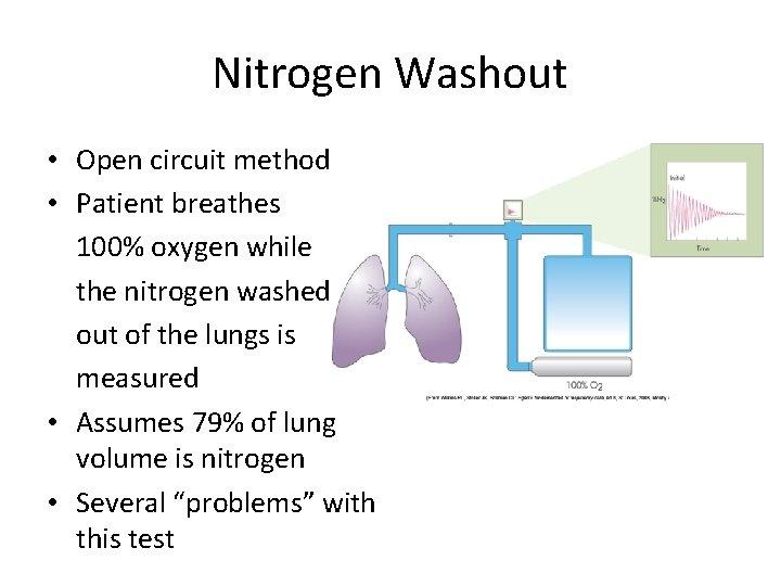 Nitrogen Washout • Open circuit method • Patient breathes 100% oxygen while the nitrogen
