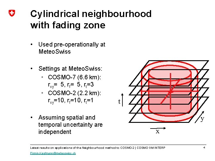 Cylindrical neighbourhood with fading zone • Used pre-operationally at Meteo. Swiss • Settings at