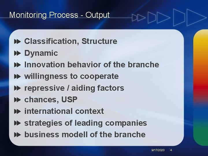 Monitoring Process - Output Classification, Structure Dynamic Innovation behavior of the branche willingness to