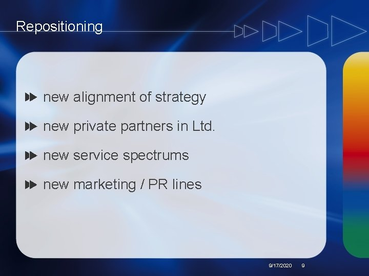Repositioning new alignment of strategy new private partners in Ltd. new service spectrums new
