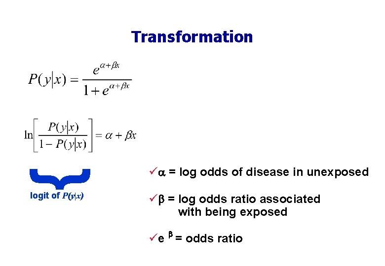 { Transformation logit of P(y x) ü = log odds of disease in unexposed ü
