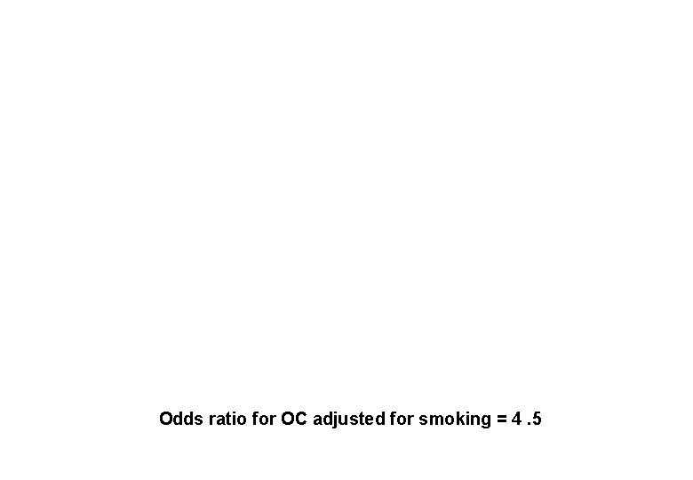 Odds ratio for OC adjusted for smoking = 4. 5