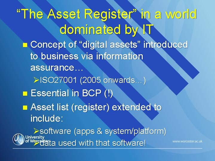 """""""The Asset Register"""" in a world dominated by IT n Concept of """"digital assets"""""""