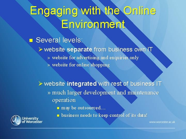 Engaging with the Online Environment n Several levels: Ø website separate from business own
