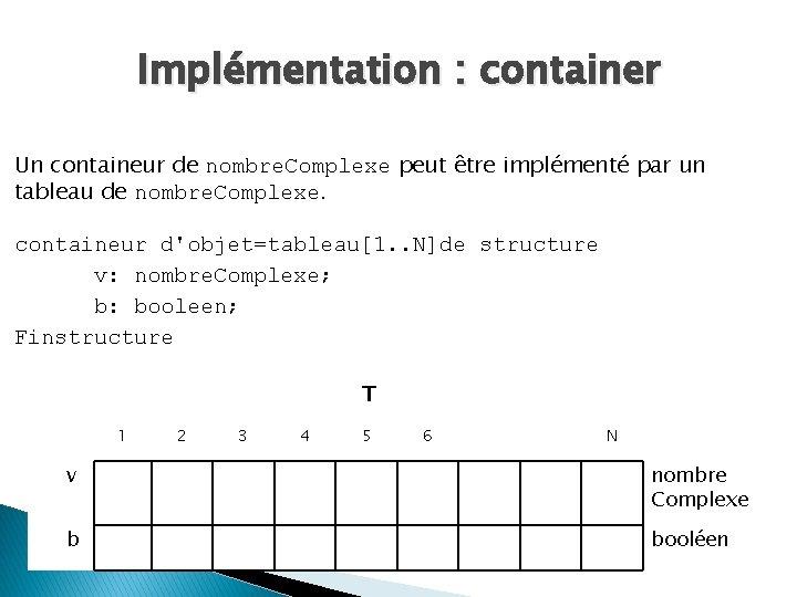 Implémentation : container Un containeur de nombre. Complexe peut être implémenté par un tableau