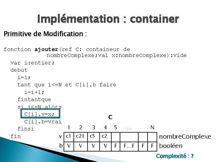 Implémentation : container Primitive de Modification : fonction ajouter(ref C: containeur de nombre. Complexe;
