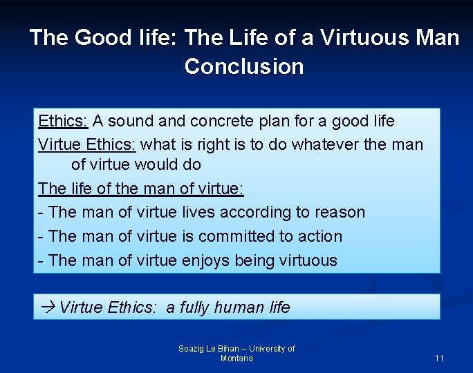 The Good life: The Life of a Virtuous Man Conclusion Ethics: A sound and