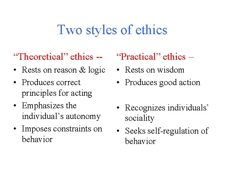 """Two styles of ethics """"Theoretical"""" ethics -- """"Practical"""" ethics – • Rests on reason"""