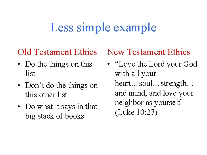Less simple example Old Testament Ethics New Testament Ethics • Do the things on