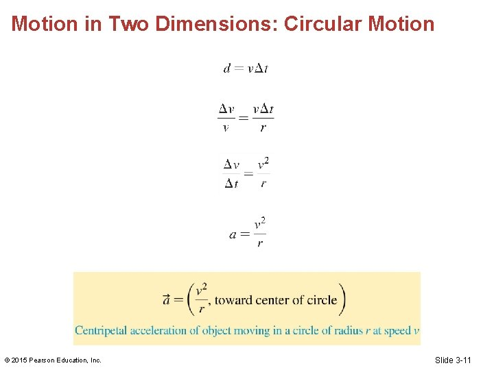 Motion in Two Dimensions: Circular Motion © 2015 Pearson Education, Inc. Slide 3 -11
