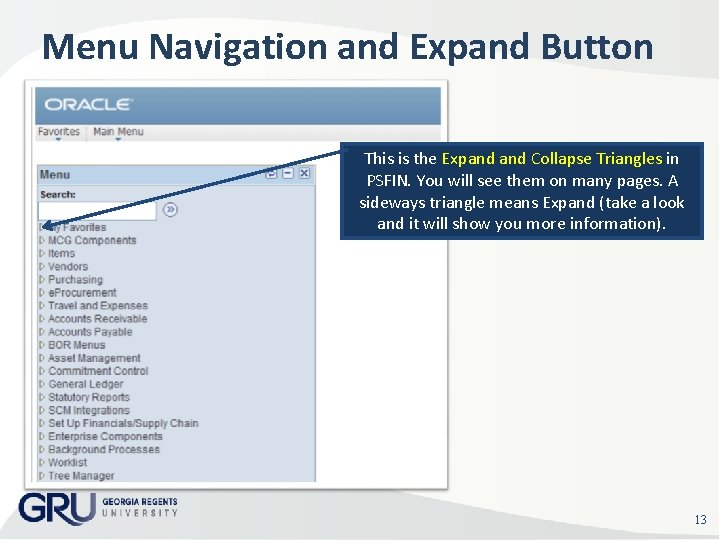 Menu Navigation and Expand Button This is the Expand Collapse Triangles in PSFIN. You