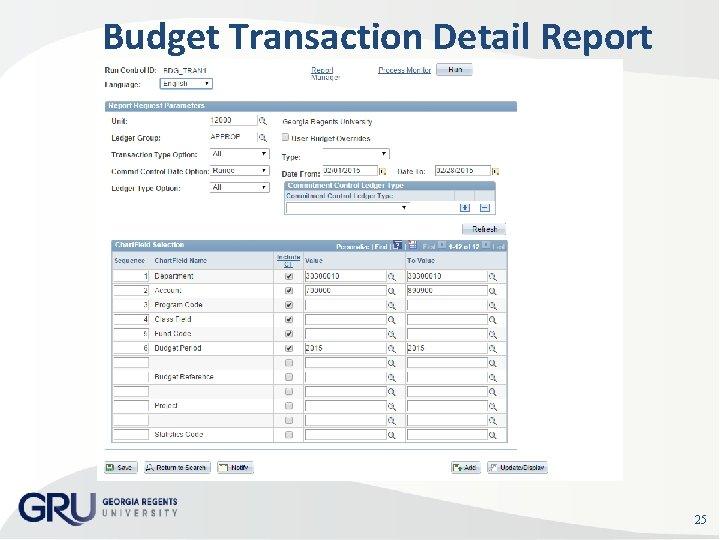 Budget Transaction Detail Report Run Control Sample 25