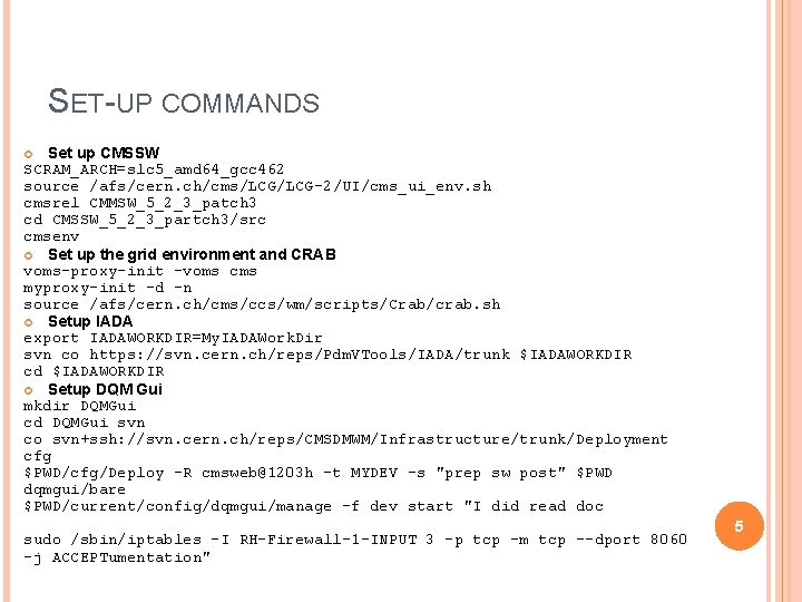 SET-UP COMMANDS Set up CMSSW SCRAM_ARCH=slc 5_amd 64_gcc 462 source /afs/cern. ch/cms/LCG-2/UI/cms_ui_env. sh cmsrel